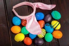 Cesta de los huevos de Pascua Imagen de archivo