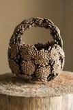 Cesta de mão feita de cones do pinho fotografia de stock