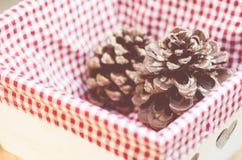 cesta de madeira com forro quadriculado da tela Imagem de Stock