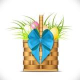 Cesta de madera con la hierba y los huevos de Pascua - illust libre illustration