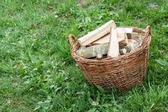 Cesta de madera cortada del fuego de registros en la hierba verde, conce ambiental Fotos de archivo