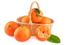 Cesta de mandarinas aisladas en blanco Imágenes de archivo libres de regalías