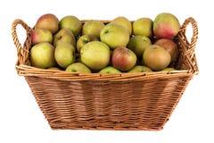 Cesta de manzanas en la acción Imagen de archivo