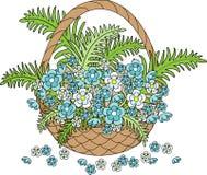 Cesta de mimbre con las flores azules hermosas Primavera, el apogeo de la naturaleza Tarjeta del d?a de fiesta Ilustraci?n del ve ilustración del vector