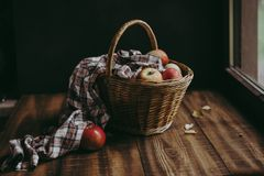 Cesta de mimbre con las manzanas coloridas imágenes de archivo libres de regalías