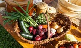 Cesta de mimbre con las verduras Fotografía de archivo libre de regalías