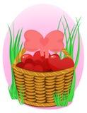 Cesta de mimbre con los corazones en fondo rosado ilustración del vector