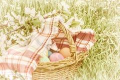 Cesta de mimbre con los huevos de Pascua Foto de archivo libre de regalías