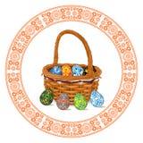 Cesta de mimbre con los huevos de Pascua por dentro y por fuera aislados en un fondo blanco Modelo circular ilustración del vector