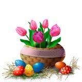 Cesta de mimbre con los tulipanes y los huevos de Pascua en un fondo blanco Elemento para la tarjeta de felicitación o bandera pa libre illustration