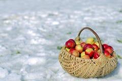 Cesta de mimbre de manzanas Imagenes de archivo