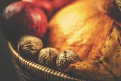 Cesta de mimbre del otoño con la calabaza, las manzanas, las hojas y las nueces en fondo negro y de madera Imagen de archivo