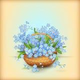 Cesta de mimbre del vector con las flores Fotos de archivo