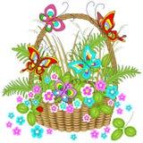Cesta de mimbre hermosa por completo de plantas del bosque Las flores delicadas, las mariposas encantadoras agitan sobre ellos Il stock de ilustración