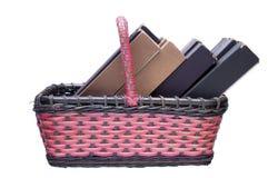 Cesta de mimbre y rectángulos de la vendimia Imagen de archivo libre de regalías