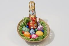 Cesta de Pascua con el conejito de pascua Imágenes de archivo libres de regalías