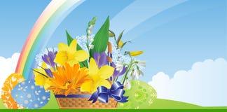 Cesta de Pascua con las flores y los huevos. ilustración del vector