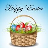 Cesta de Pascua con los huevos stock de ilustración