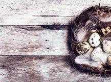 Cesta de Pascua con los huevos de Pascua en fondo de madera. Easte de las codornices Fotografía de archivo