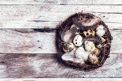 Cesta de Pascua con los huevos de Pascua en fondo de madera. Easte de las codornices Fotografía de archivo libre de regalías