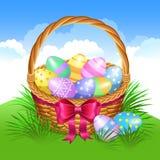 Cesta de Pascua con los huevos de Pascua pintados color Huevos de Pascua stock de ilustración