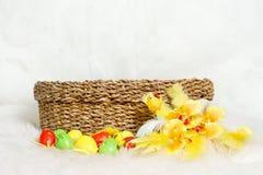 Cesta de Pascua con los huevos y la flor de Pascua Foto de archivo libre de regalías