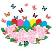Cesta de Pascua del vector con las flores stock de ilustración