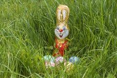Cesta de Pascua en hierba profunda Fotografía de archivo libre de regalías