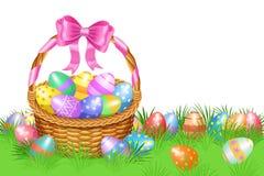 Cesta de Pascua y huevos de Pascua coloridos en la hierba verde para Pascua libre illustration