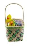 Cesta de Pascua y pato del juguete Imagen de archivo libre de regalías