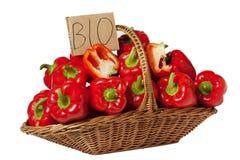 Cesta de pimentas vermelhas Fotos de Stock