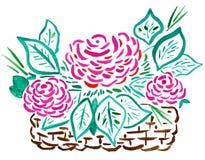Cesta de rosas rojas - gráfico de la mano Foto de archivo libre de regalías