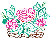 Cesta de rosas vermelhas - desenho da mão Foto de Stock Royalty Free