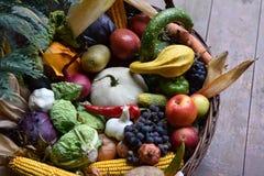 Cesta de verduras del alimento biológico Fotos de archivo libres de regalías