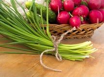 Cesta de verduras frescas de la primavera Imagenes de archivo