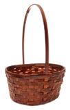 Cesta de vime do weave do vintage isolada no branco Imagens de Stock