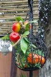 Cesta decorativa con las manzanas y las mandarinas artificiales Imagen de archivo