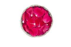 Cesta decorativa del metal con los pétalos de rosas rojas Fotos de archivo libres de regalías