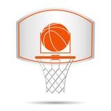 Cesta del baloncesto, aro, bola aislada en el fondo blanco stock de ilustración