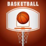 Cesta del baloncesto, aro, bola aislada en el fondo blanco ilustración del vector
