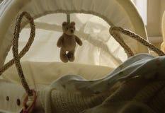 Cesta del bebé con el oso del peluche Imagen de archivo libre de regalías