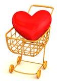 Cesta del consumidor con el corazón Imagen de archivo