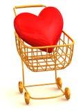 Cesta del consumidor con el corazón Foto de archivo