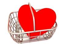 Cesta del consumidor con el corazón Imagenes de archivo