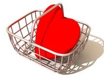 Cesta del consumidor con el corazón Fotografía de archivo libre de regalías