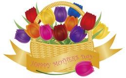 Cesta del día de madres con el ejemplo colorido de los tulipanes ilustración del vector