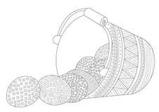 Cesta del huevo de Pascua con los huevos caídos en diseño de la página que colorea stock de ilustración