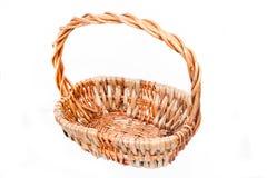 Cesta del jacinto hecha de los materiales naturales usados para suministrar mercancías Foto de archivo