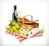 Cesta del mantel y de la comida campestre, copas de vino y uvas, showin del ejemplo del vector Imágenes de archivo libres de regalías