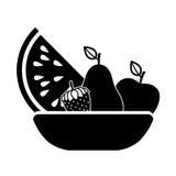 Cesta del monchrome de la silueta con las frutas stock de ilustración